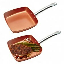 """2 PK Copper NonStick Square Fry Pan 9"""" Ceramic Frying Skillet Induction Cookware"""
