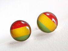 Rasta Colors Stud Earrings 925 Sterling Silver Corona Sun Jewelry