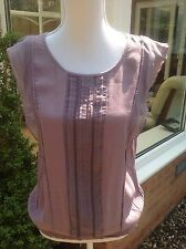 MONSOON Dusky Purple Top - Size 12 - Chiffon Panels, Embroidered, Cruise, Party