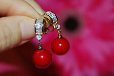 Dangly Red Shell Pearl Clip-on Earrings with Crystal Hoop in Gold-Plated Setting
