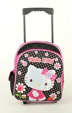 "New Hello Kitty Flower Small 12"" Girls Rolling Backpack Kids Rolling School Bag"