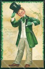 St Patrick Day Clapsaddle Relief postcard cartolina QT5903