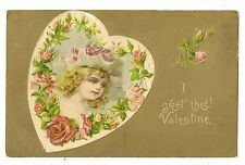 ANTIQUE UDB VALENTINES DAY POSTCARD LITTLE GIRL CHILD PINK ROSES FLOWERS HEART