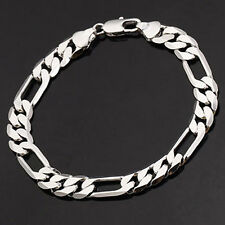 Awesome titanium 3-Links Cool Mens Figaro Curb Chain Link Bracelet