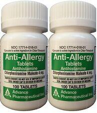 Chlorpheniramine 4 mg Allergy Generic 100/Bottle  PACK of 2