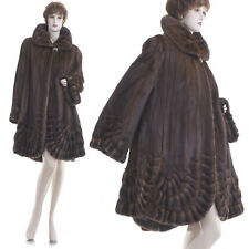 Mint! XL-XXL! Finest Female Sable Brown Mink Scalloped Pleated Tiered Swing Coat