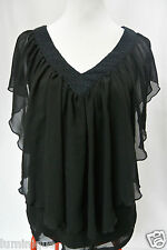 **FRESH SOUL** EUC ICONIC Chiffon V Neck Tiered Black Blouse 8 S Top Lace Satin