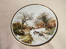 VINTAGE GILDED DISPLAY PLATE LANDSCAPE IN WINTER B.C. KOEKKOEK ENGLISH CHINA 8.5