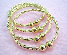 4 pc BABY INFANT TODDLER GOLD PATTERNED METAL BALL CLOSURE BANGLE BRACELETS