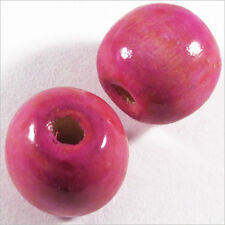 Lot de 20 Perles Rondes en Bois 16mm Rose Fuchsia