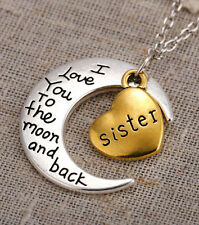 HOT 'I LOVE YOU TO THE MOON AND BACK' sister Necklace Pendant
