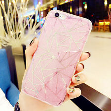 Soft TPU Frame Bling Triangle Hard PC Back Case Cover For iPhone 6 Plus 5.5 Pink