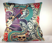 "BRAND NEW RETRO JAPANESE ZEN CHARMER SKULLS  CUSHION COVER 16""x16"