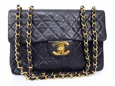 100% AUTH CHANEL BLACK LAMB VINTAGE JUMBO XL SHOULDER BAG W34 S249