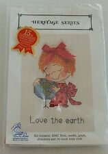 Love The Earth Cross Stitch Kit Marty Links Heritage Series Girl Hugs World