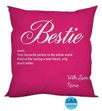 "HOT PINK BESTIE QUOTE DESIGN COTTON FEEL CUSHION 18"" HOME GREAT GIFT IDEA"