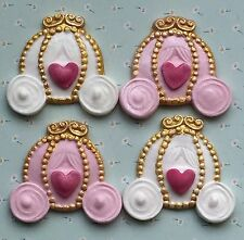4 pink princess CARRIAGES edible fondant cupcake/cake toppers by Emma