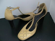 Nine West Mary Jane Heel Pumps T strap Open Sides Shoes Size 9M made In Brazil