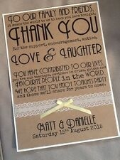 A4 Handmade Personalised Vintage Lace Rustic Thank You Message Sign Wedding