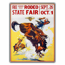 AMERICAN RODEO FAIR METAL SIGN WALL PLAQUE Vintage Retro Travel Advert print