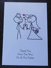 10 Personalised Wedding Thank You Cards - Postcard Style