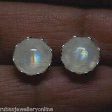 8mm ROUND NATURAL RAINBOW MOONSTONE 925 STERLING SILVER STUD EARRINGS