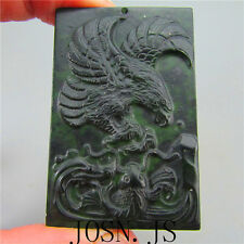 Natural chinese black green Jadeite jade eagle fish pendant necklace hand-carved