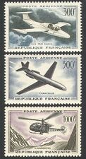 France 1957 Planes/Helicopter/Aviation/Transport/Flight/Jet 3v set (n40608)