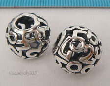 1x STERLING SILVER EUROPEAN NUMBER DIGIT ROUND BRACELET CHARM SPACER BEAD #2178
