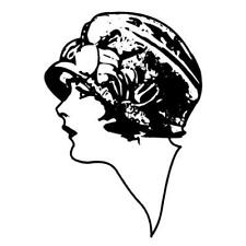 Lady Profile, art deco flapper woman - unmounted rubber stamp lg #2