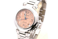 Pasha de Cartier Mid Size Watch Stainless W/ Salmon Grid Face 2324