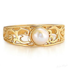Gold Filled 14k Ring Genuine Pearl Warranty Sizeable Gemstone Free Shipping Chic