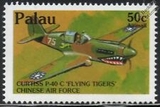 WWII Chinese Air Force CURTISS P-40 Flying Tigers Aircraft Stamp (1992 PALAU)