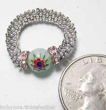 Millefiori Glass Red Flower/Green Bead Ring, Pink Channel RS,Beaded ST Stretch 6