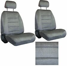 Grey Gray Interwoven Weave Car SEAT COVERS 2 seatcovers w/ 2 head rests 40-120-5