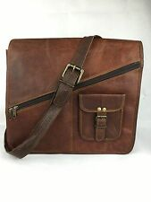 "13x13"" Handmade Real Brown Leather Padded Messenger Bag Satchel Laptop Bag"