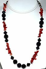 Red Coral Chunks & Black Faceted Cut Glass Beads Necklace with Adjustable Chain