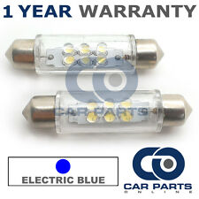2X BLUE NUMBER PLATE INTERIOR LIGHT 6 DOME LED BULBS 44MM 05BX2