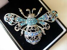 New vintage style  large silver blue aurora diamante bee insect brooch filigree