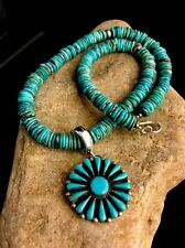 Native American Blue Turquoise Sterling silver Necklace Vintage Pendant