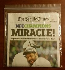 SEATTLE TIMES NEWSPAPER SEAHAWKS MIRACLE WIN NFC CHAMPIONSHIP 1/19/15