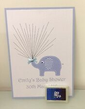 Baby Shower Fingerprint Keepsake Chevron Spotty Elephant With Inkpad A4 size