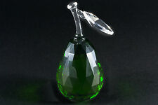 GREEN CRYSTAL GLASS PEAR ORNAMENT, TABLE DECORATION / BIRTHDAY GIFT NEW in BOX