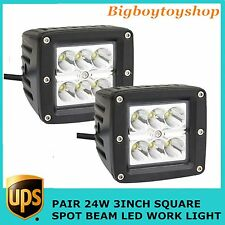 2X24W CREE Spot LED Work Light Cube Pods Offroad Truck Jeep Square Vehicle 16W