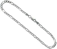 """3mm Sterling Silver Diamond-Cut Figaro Anklet 9"""" #2361"""
