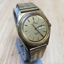 Vintage Hamilton Swiss 9956 Mens Analog Quartz Watch Hours~Day Date~New Battery