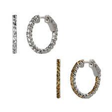 Sterling Silver Round White Topaz or Citrine Inside-Out Vault Lock Hoop Earrings