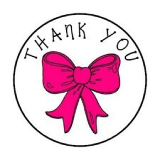 """48 Thank You Pink Bow!!  ENVELOPE SEALS LABELS STICKERS 1.2"""" ROUND"""