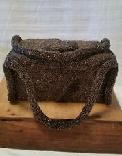 Vintage Charlet Beaded Box Purse Bronze copper glass beads