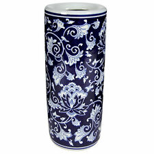 "Porcelain Umbrella Stand Blue White 8""x18"" - AV69760"